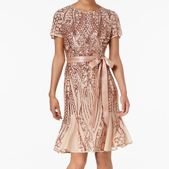 R&M Richards | Godet | Rose Gold Sequin Dress NWT